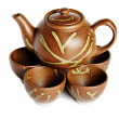 Teapot on cups - Stock Photo