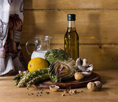 Artichoke ,asparagus, mushroom and milk recipe — Stock Photo