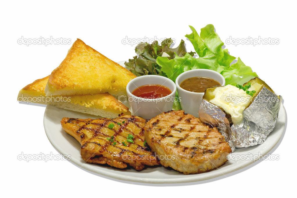 Pork and chicken steak on a white plate   Stock Photo #11731344
