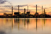Golden River and oil refinery factory with refection in Bangkok, Thailand. — Stock Photo