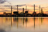 Golden River and oil refinery factory with reflection in Bangkok, Thailand. — Stock Photo