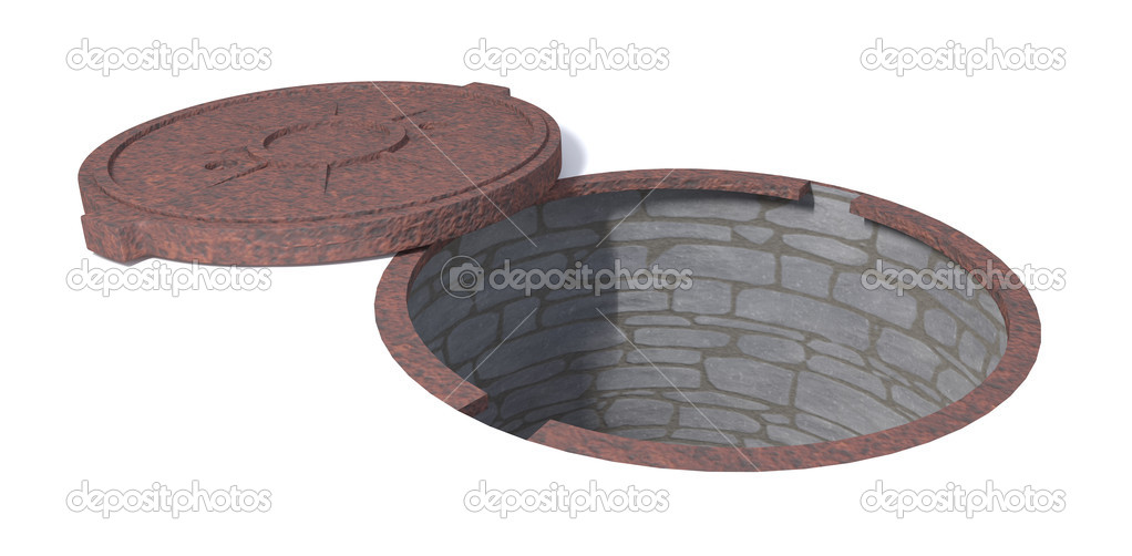 Rusty manhole with break tunnel — Stock Photo #11549500