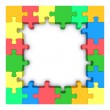 Colored puzzle frame. — Stock Photo