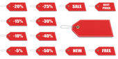Red price and discount tags — Stock Photo