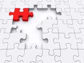Jedna červená puzzle. — Stock fotografie