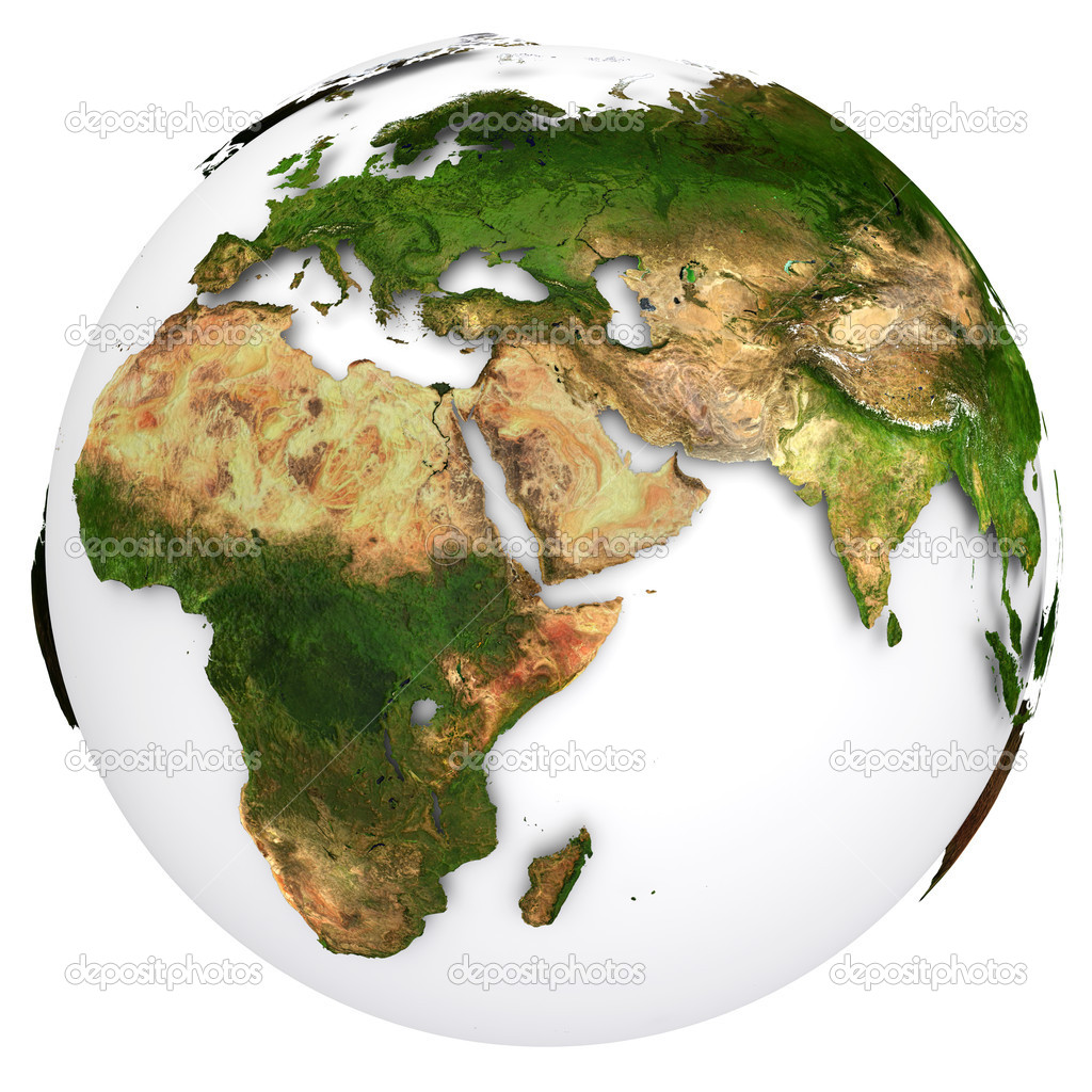 Earth planet globe. Side of the Europe and Africa. The Earth texture of this image furnished by NASA — Stock Photo #11557602