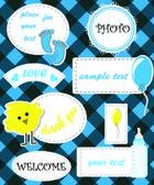 Cute set of speech bubbles for children — Stock Vector