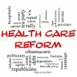 Health Care Reform Word Cloud Concept in Red Caps — Stok Fotoğraf #11738200