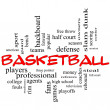 Basketball Word Cloud Concept in red caps — Stock Photo