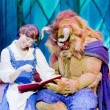 Belle and Beast Read a Book — Stock Photo