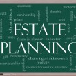 Estate Planning Word Cloud Concept on a Blackboard - Stock Photo