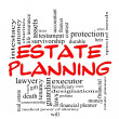 Estate Planning Word Cloud Concept in Red Caps - Stok fotoraf