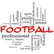 Football Word Cloud Concept in red caps — Stock fotografie