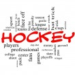 Hockey Word Cloud Concept in Red Scribbles — Stock Photo