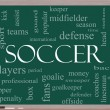 Stock Photo: Soccer Word Cloud Concept on Blackboard