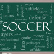 Soccer Word Cloud Concept on a Blackboard — Stock Photo