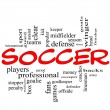 Soccer Word Cloud Concept in red scribbles — Stock Photo