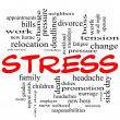 Stress word cloud concept in red caps — Stock Photo