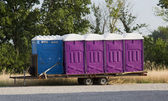 Blue and Purple Porta Pottys — Stock Photo