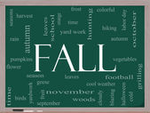 Fall or Autumn Word Cloud Concept on a Blackboard — Stock Photo