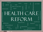 Health Care Reform Word Cloud Concept on a Blackboard — Stock Photo