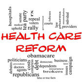 Health Care Reform Word Cloud Concept in Red Caps — Stock Photo