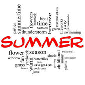 Summer Word Cloud Concept in Red Caps — Stock Photo