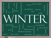 Winter Word Cloud Concept on a Blackboard — Stock Photo