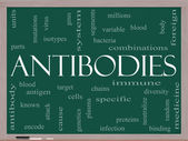 Antibodies Word Cloud Concept on a Blackboard — Stock Photo