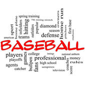 Baseball Word Cloud Concept in Red Caps — Stock Photo