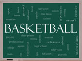 Basketball Word Cloud Concept on a Blackboard — Stock Photo