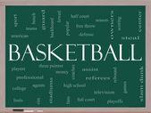 Basketball Word Cloud Concept on a Blackboard — Stock Photo