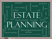 Estate Planning Word Cloud Concept on a Blackboard — Stock Photo