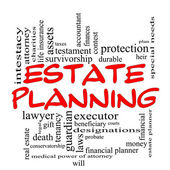 Estate Planning Word Cloud Concept in Red Caps — Stock Photo