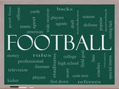 Football Word Cloud Concept on a Blackboard — Stock Photo