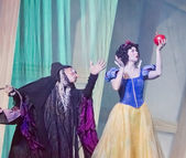 Snow White with the Apple from the Witch — Stock Photo