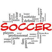 Calcio parola nuvola concetto in rossi scarabocchi — Foto Stock