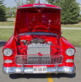 Red & White 1957 Chevy Bel Air Engine — Stock Photo