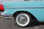 Powder Blue & White 1957 Chevy Bel Air Side View Close — Stock Photo