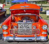 Orange 1957 Chevy Bel Air Engine — Stock Photo