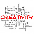 Creativity Word Cloud Concept Red Black - Stock Photo