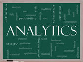Analytics Word Cloud Concept on a Blackboard — Stock Photo