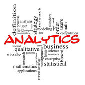 Analytics Word Cloud Concept in Red scribbles — Stock Photo