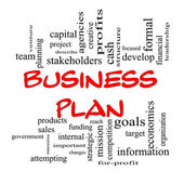 Red Caps Business Plan Word Cloud Concept — Stock Photo