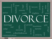Divorce Word Cloud Concept on a Blackboard — Stock Photo