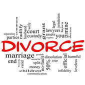Divorce Word Cloud Concept Scribble in Red — Stock Photo