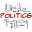 Постер, плакат: Politics Word Cloud Concept in Red Letters