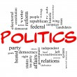 Politics Word Cloud Concept in Red Letters — Stock Photo