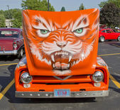 1955 Ford F-100 Orange Cat Hood Design — Stock Photo