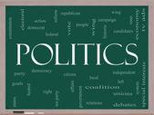 Politics Word Cloud Concept on a Blackboard — Stock Photo